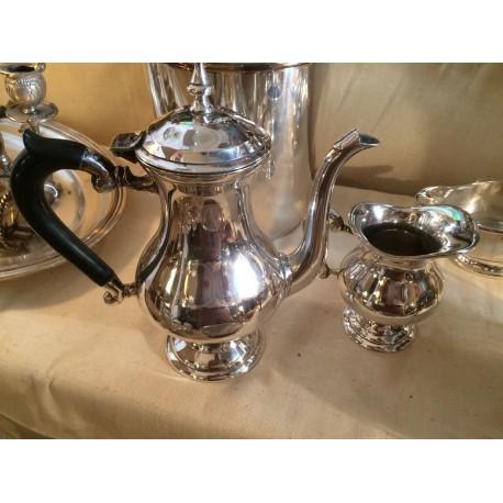 Théière et pot à lait Métal argenté et manche bois noir